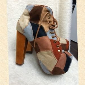 Vintage style boho chic laced up boots high heels